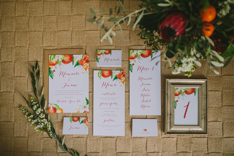 orange floral wedding invitations - photo by Paula G Furio http://ruffledblog.com/1920s-mediterranean-wedding-inspiration-in-valencia-spain
