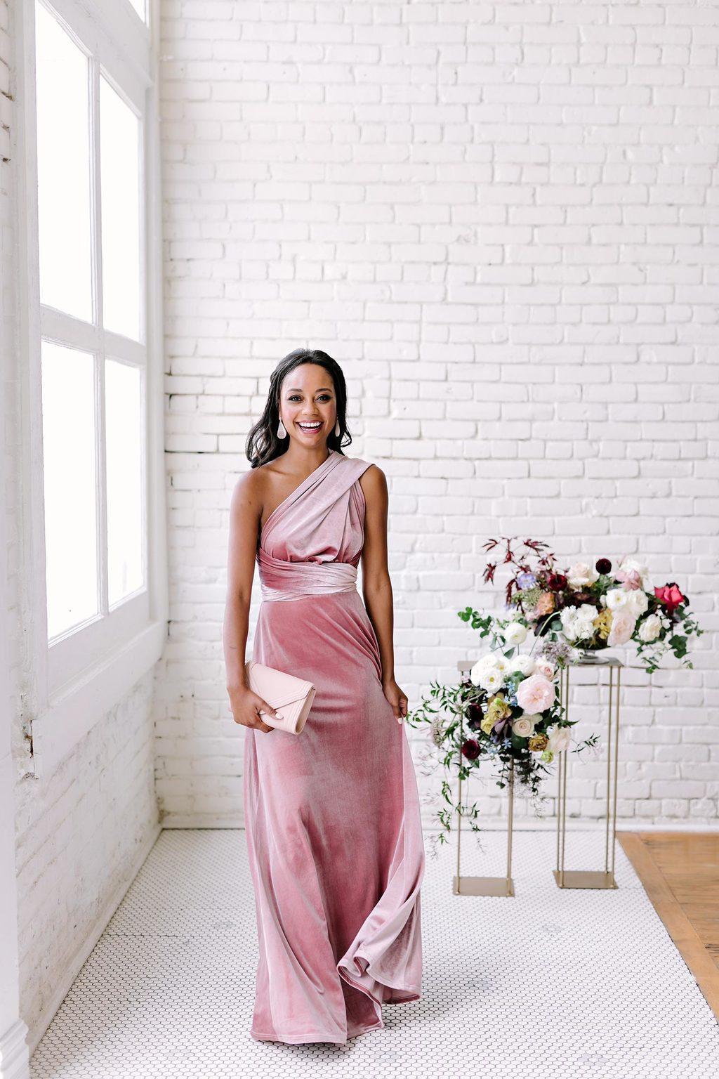 one-shoulder velvet bridesmaid dress with bubblegum pink hue