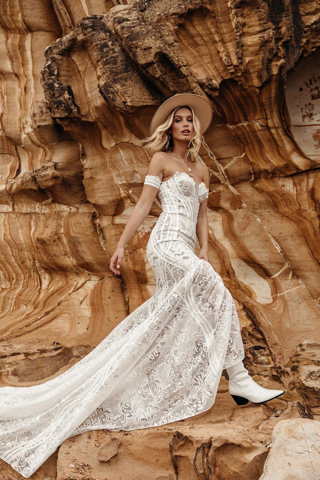 off the shoulder lace wedding dress for boho bride