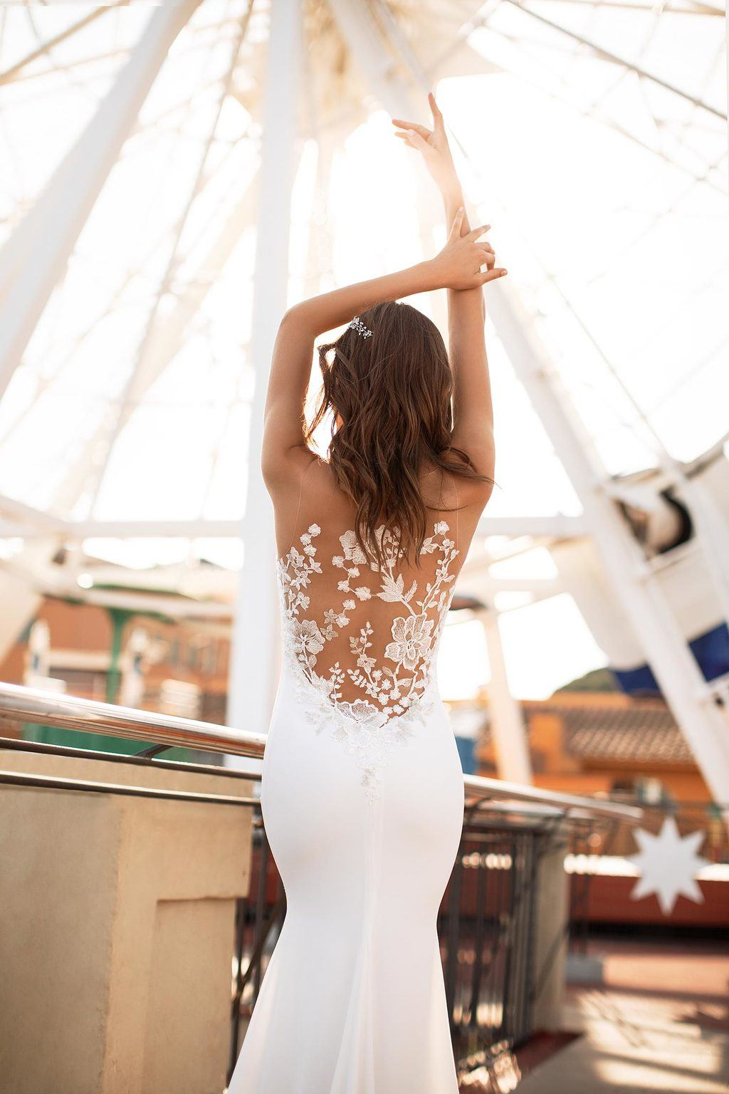 mermaid wedding dress with intricate back detail