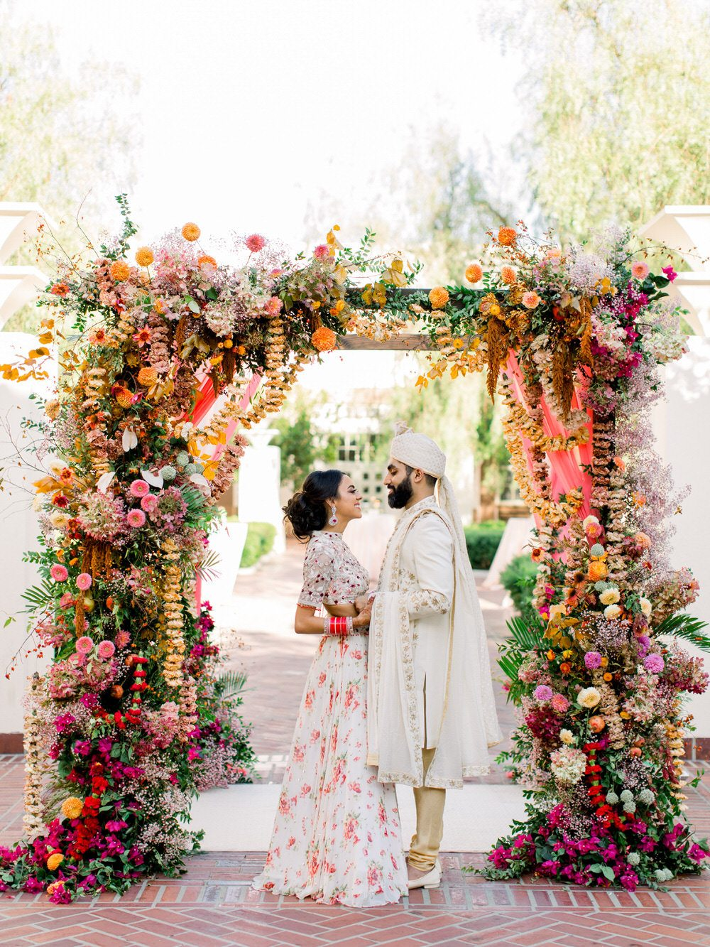 Vibrant Indian Wedding in a Downtown LA Urban Garden with a Modern