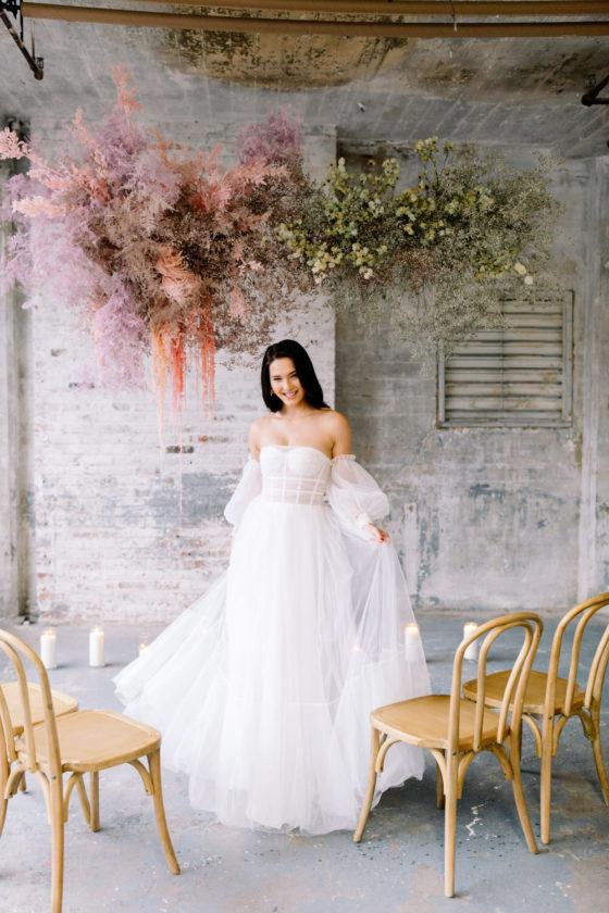 Industrial Loft Turned Feminine for a Valentine's Day Wedding