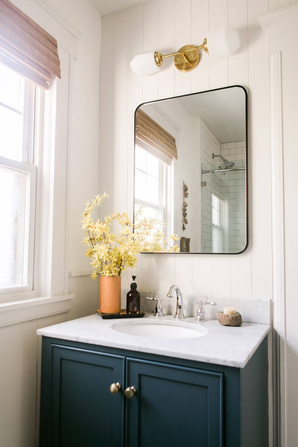 Our Warm Neutral Bathroom Refresh with DIY Wall Paneling ⋆ Ruffled