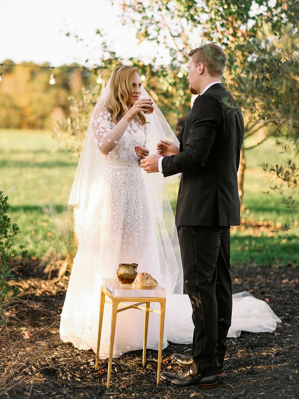 Flower Aisle Wedding Canary Lichen Hues Backyard Wedding