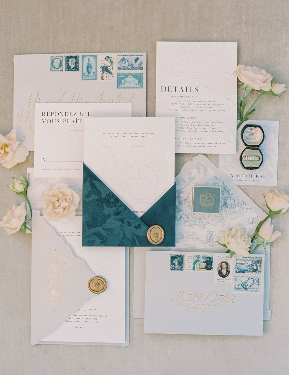 French Blue Wedding Toile Pearl Accents