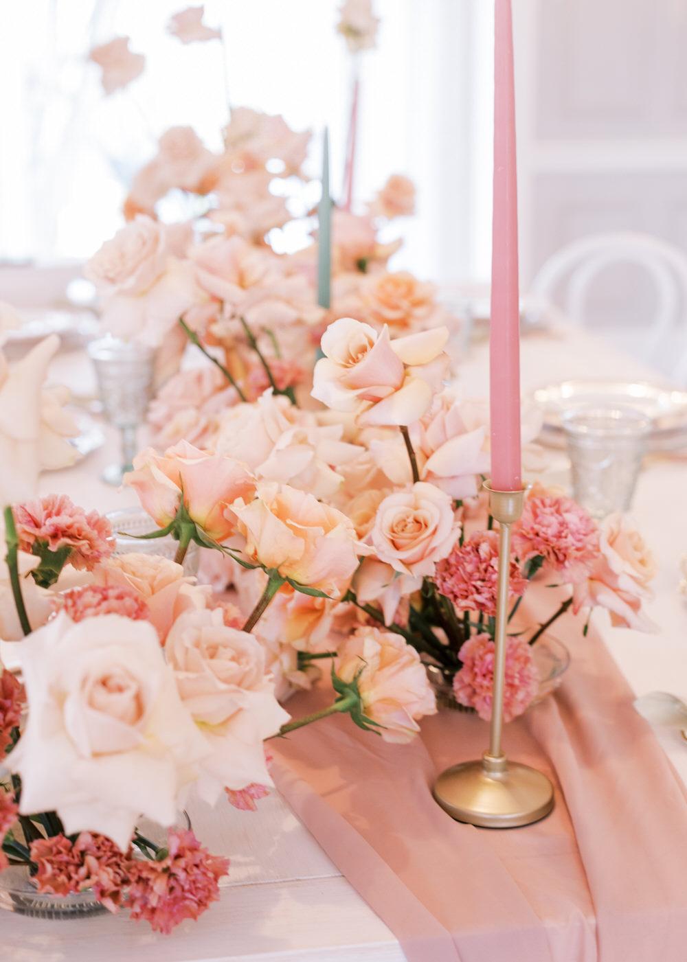 Pink Roses Cascading Wedding