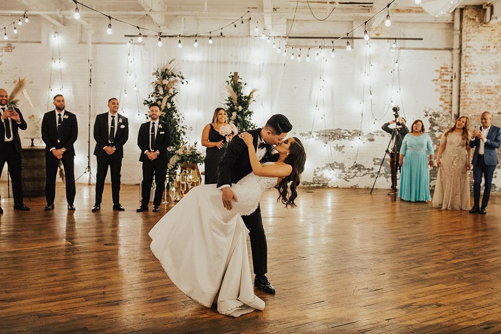 First Dance at an art factory wedding venue
