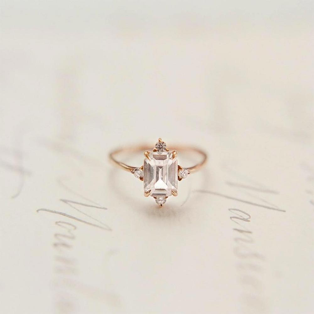 elegant emerald cut engagement ring
