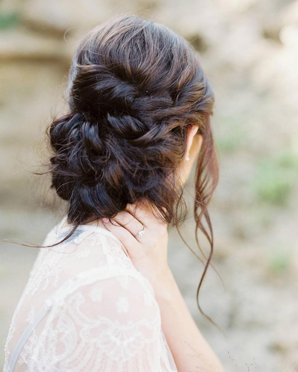 34 loose wedding updos for brides with long hair ruffled loose braided wedding updo junglespirit Images