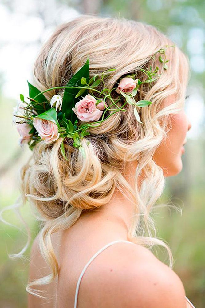 34 loose wedding updos for brides with long hair ruffled loose tousled wedding updo junglespirit Choice Image