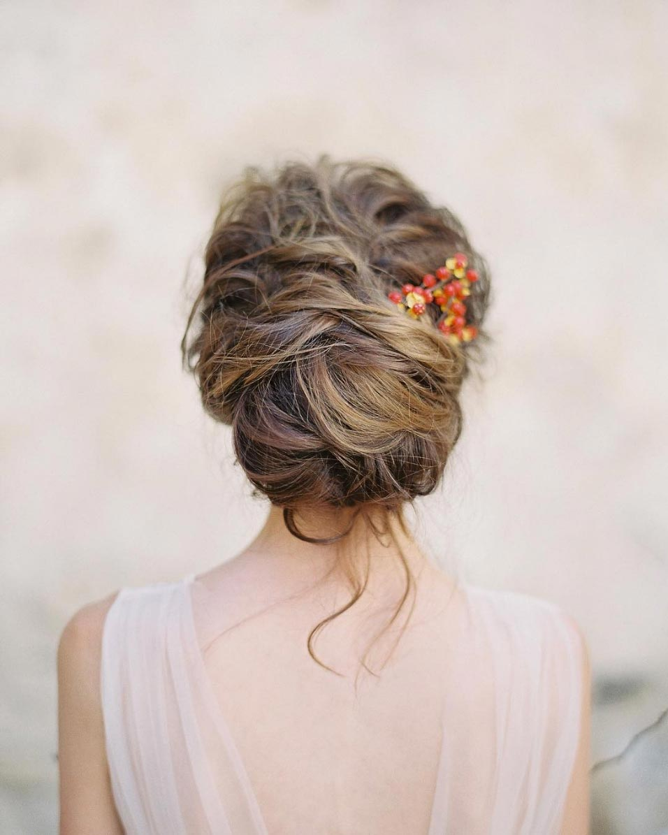 34 loose wedding updos for brides with long hair ruffled messy wedding updo thick wavy hair junglespirit Gallery