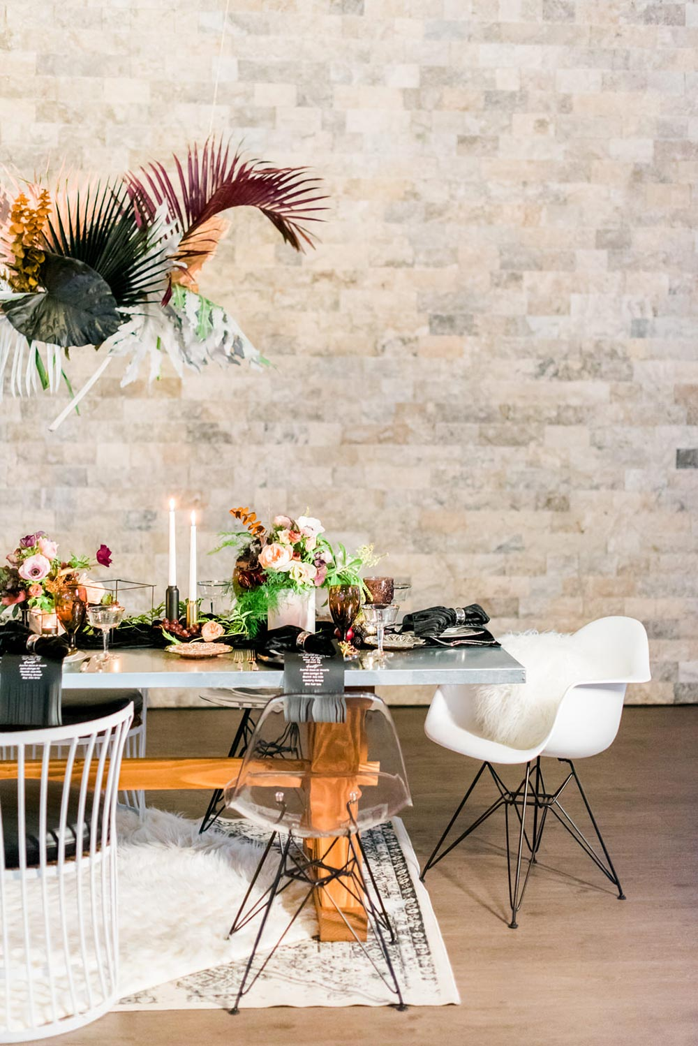 white metallic wedding chairs and grunge wedding tablescape