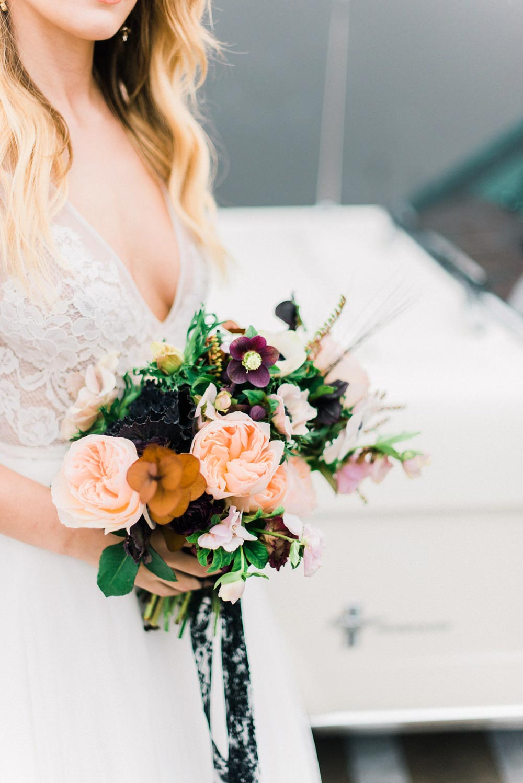 blush, mustard and mauve bridal bouquet