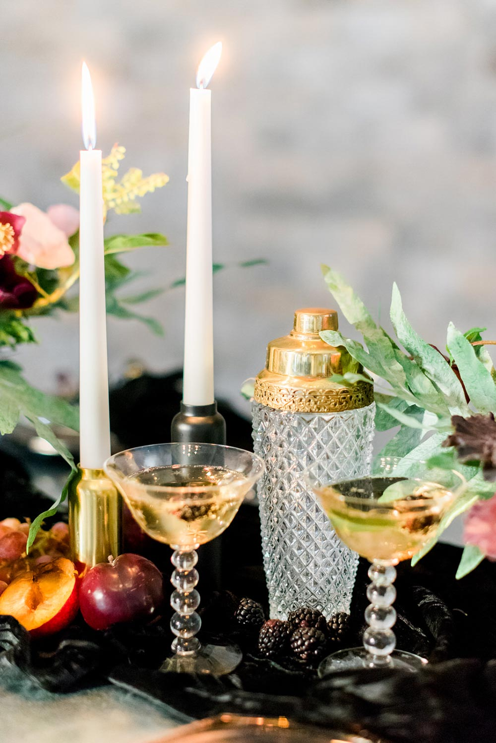 chic champagne coup glasses wedding reception