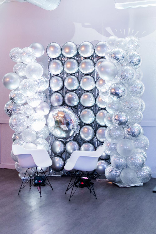 disco ball and balloon photo booth wedding reception