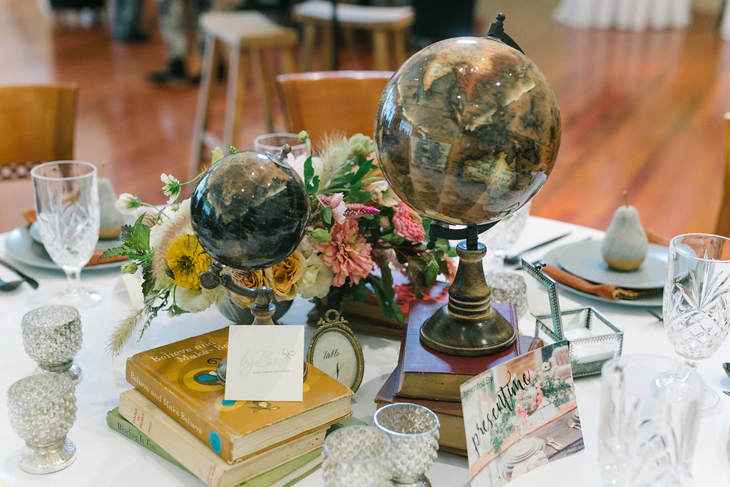 wedding ideas with globes - http://ruffledblog.com/vibrant-atlanta-wedding-inspiration-with-rust-accents