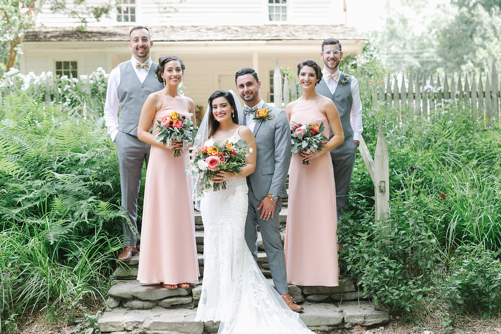 wedding parties with light peach bridesmaid dresses - http://ruffledblog.com/vibrant-atlanta-wedding-inspiration-with-rust-accents