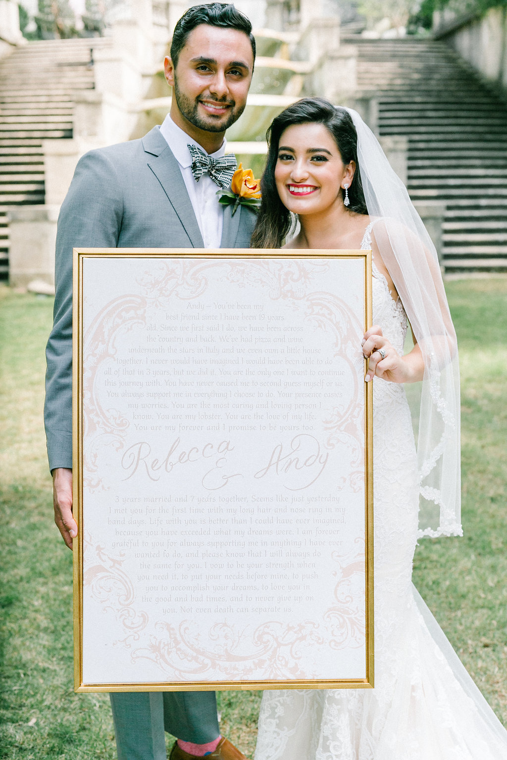 romantic wedding vow art - https://ruffledblog.com/vibrant-atlanta-wedding-inspiration-with-rust-accents