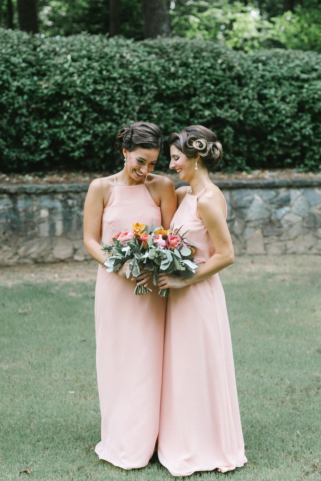 light peach bridesmaid dresses - http://ruffledblog.com/vibrant-atlanta-wedding-inspiration-with-rust-accents