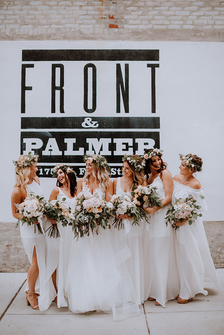 Her boho lace wedding dress is a STUNNER #urbanwedding #bride #weddingdress see more: https://ruffledblog.com/boho-pennsylvania-wedding-lace-neutrals