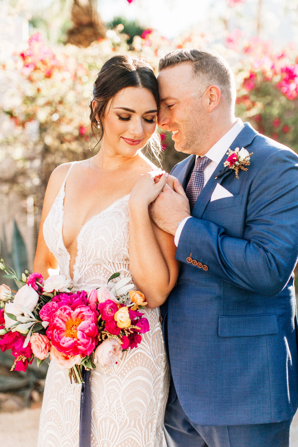 colorful bride and groom portrait