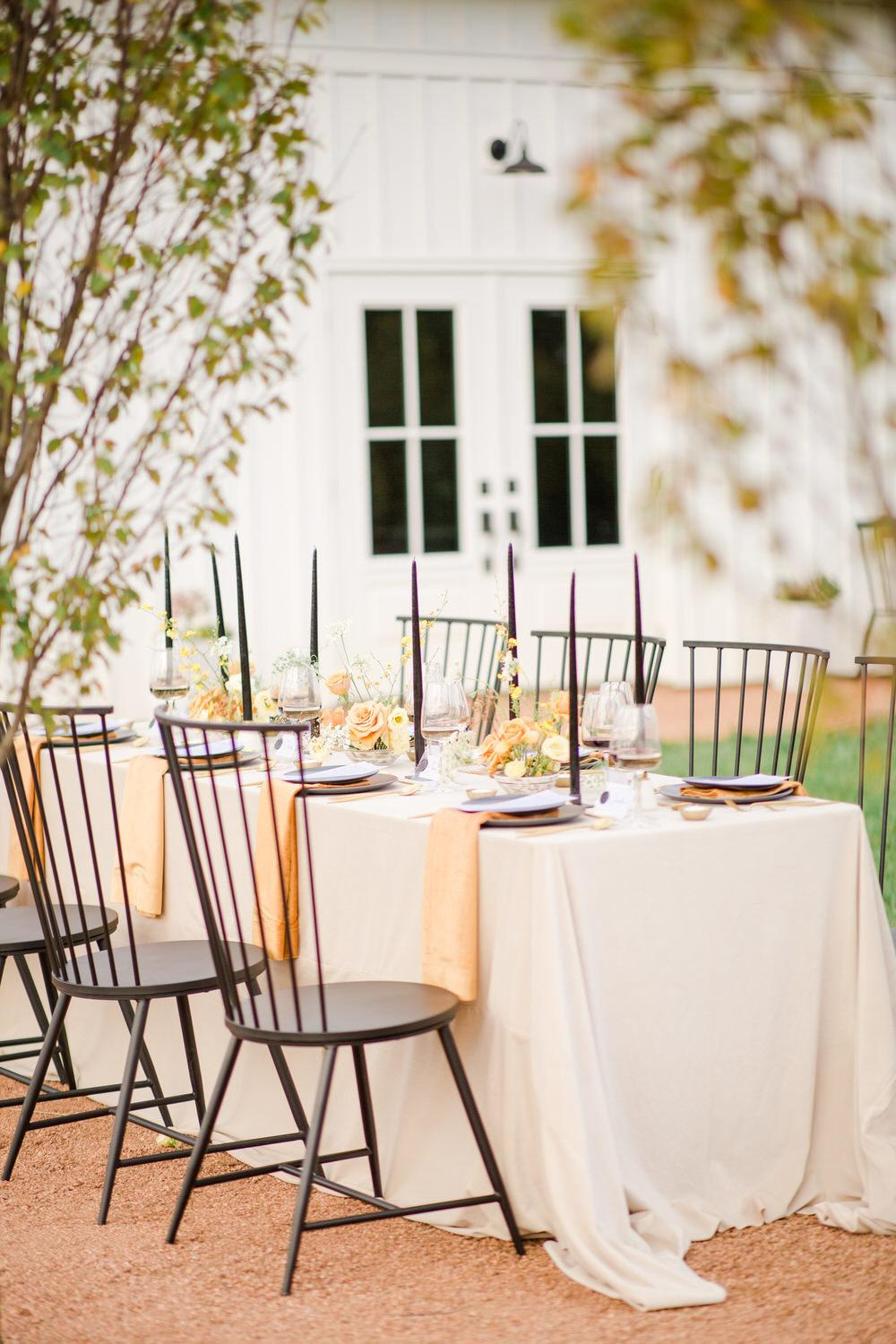contemporary al fresco reception setup