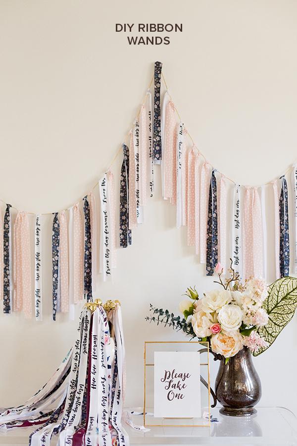 You HAVE to see these DIY handlettered ribbon wands! #diywedding #ribbonwands https://ruffledblog.com/diy-ribbon-wands/