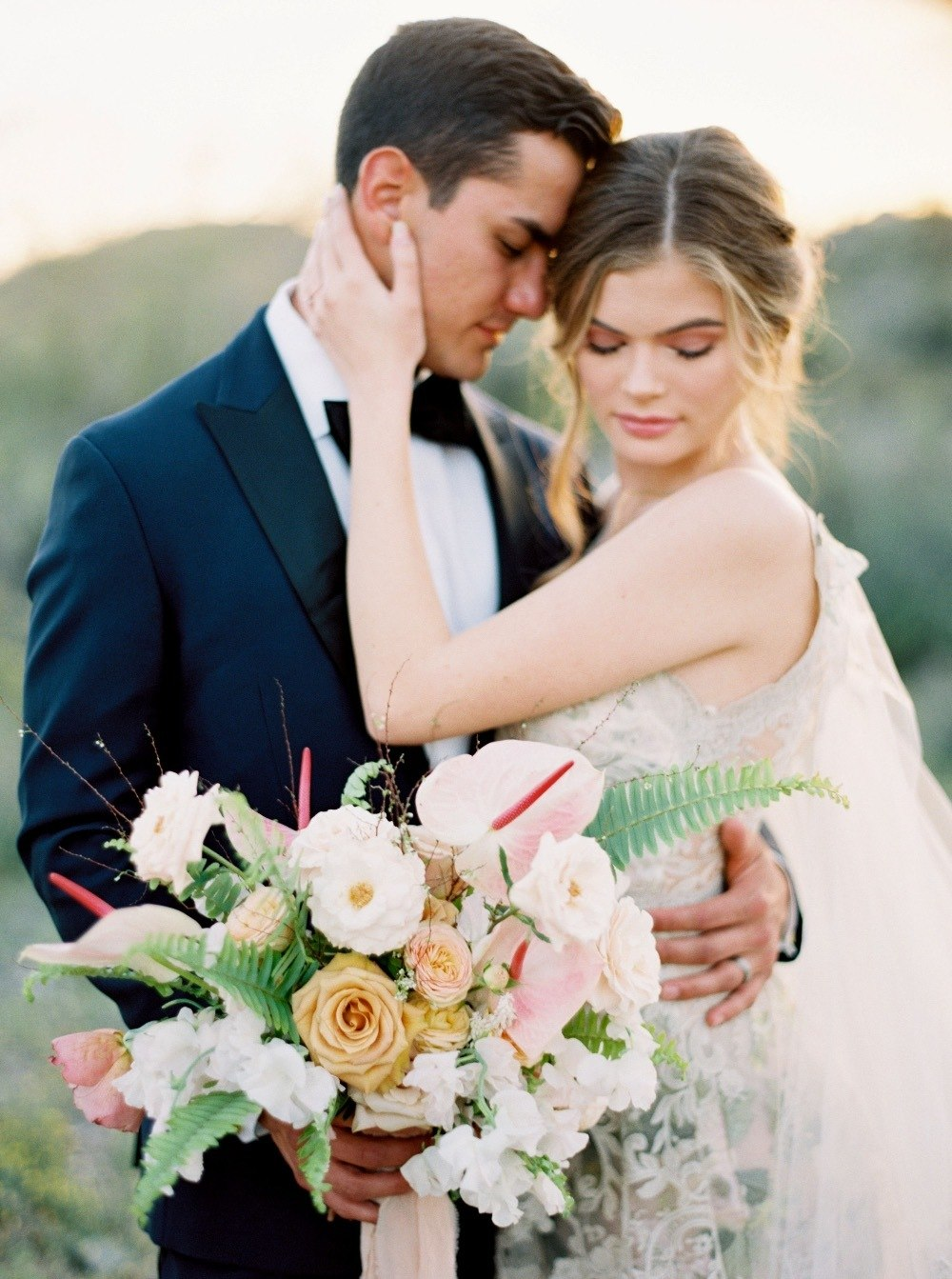 bride and groom portrait with bridal bouquet