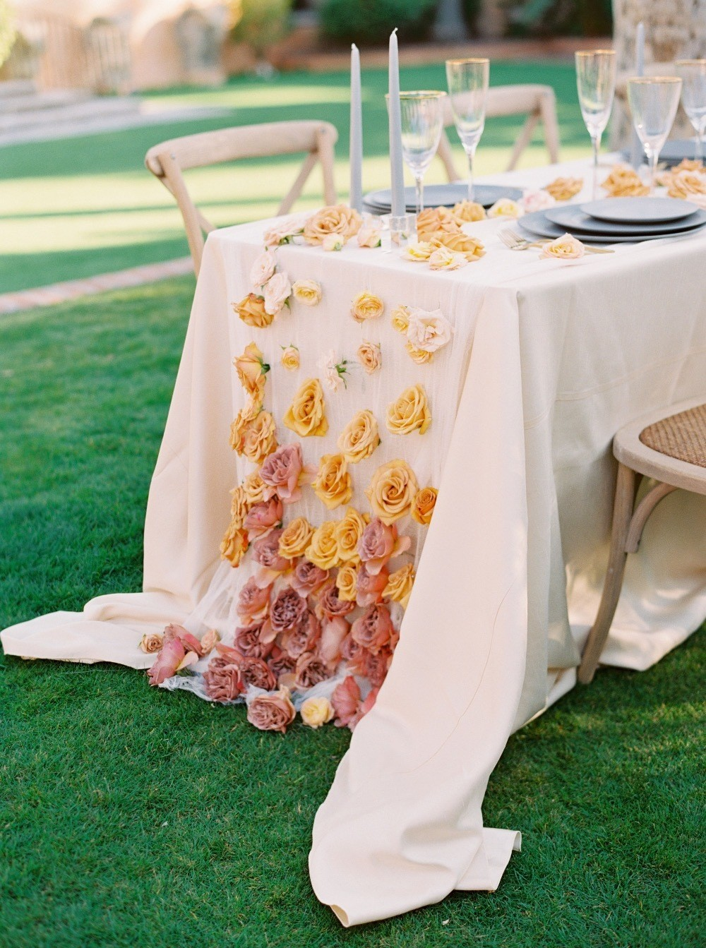 ombre floral cascade over table