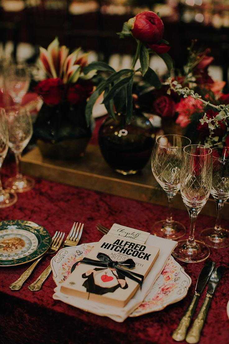 This Elegant Book Wedding is Perfect for Winter #weddings #winterwedding #books #library  https://ruffledblog.com/book-themed-wedding