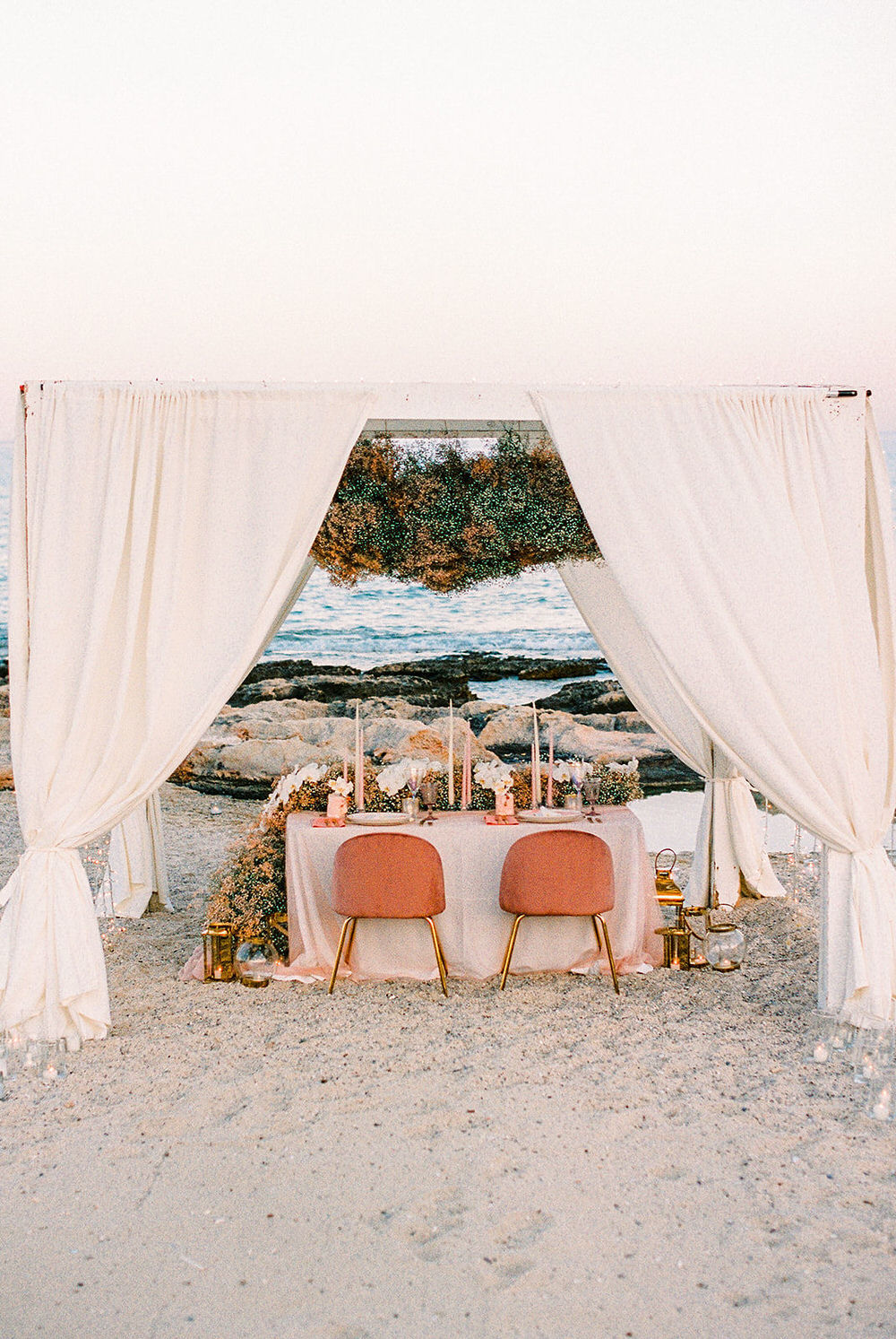 vow renewal reception details in coral and papaya hues