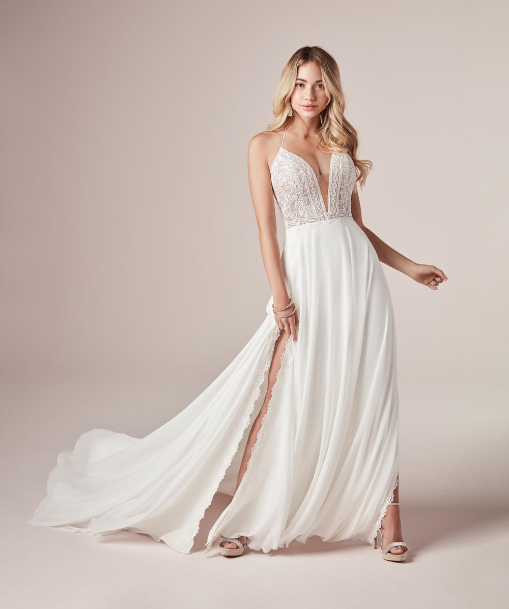 sheath wedding dress with a plunging neckline