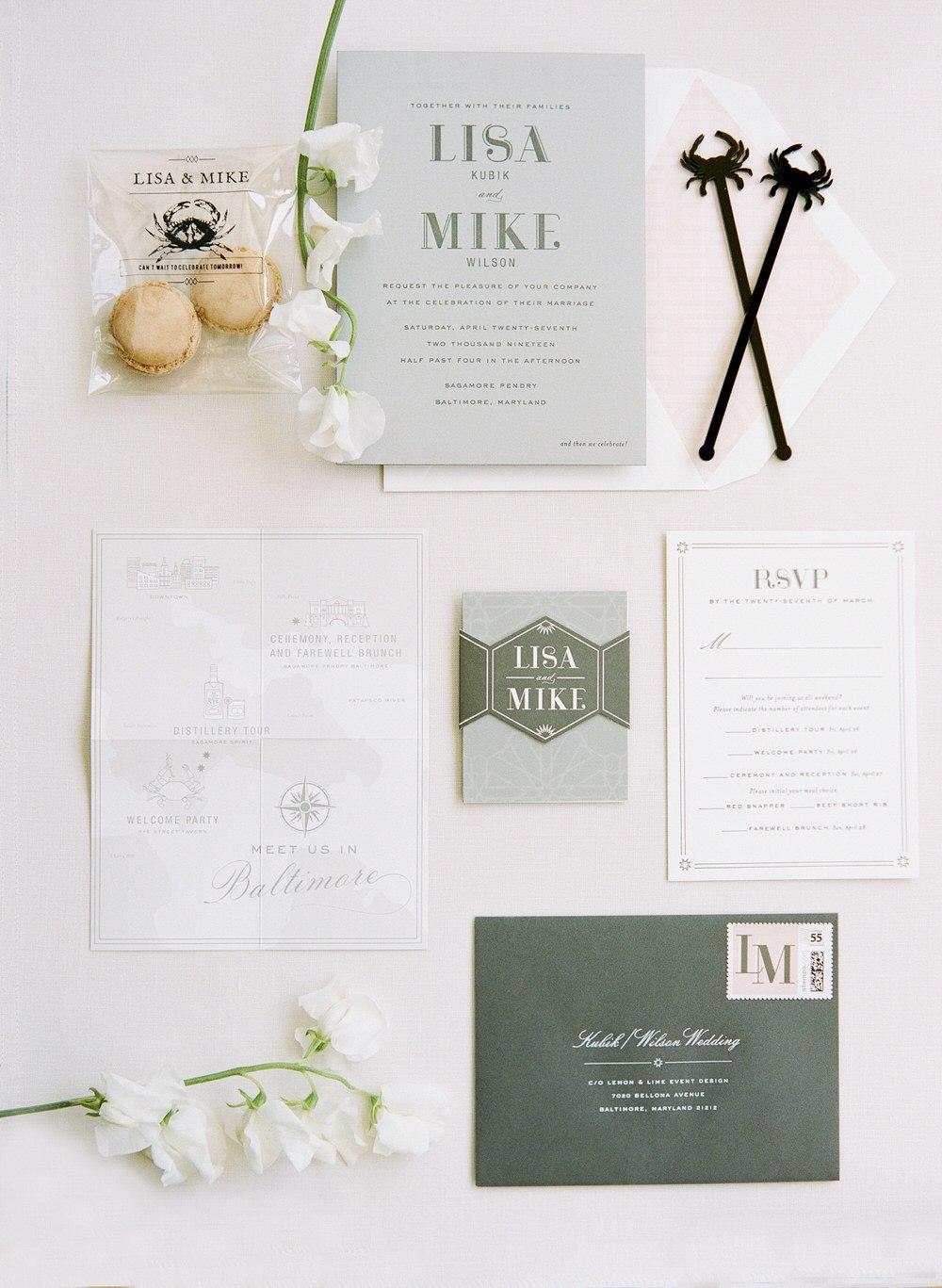 monochromatic wedding stationery