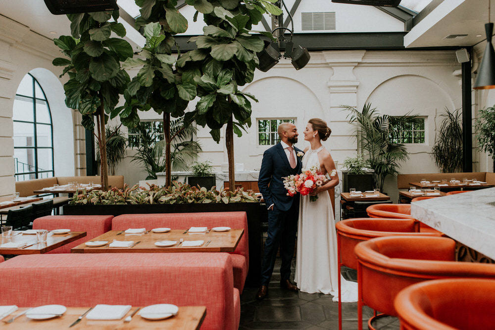 colorfully decorated wedding reception location