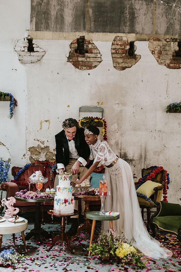 This Industrial Wedding Inspo is the Unicorn at a Rainbow Convention #unicornwedding #rainbowwedding #industrialwedding #weddingvenues