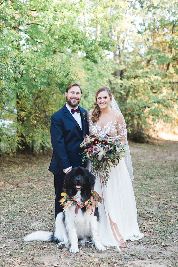 Outdoor Wedding with a Magnolia-Clad Pupper #dog #fall #outdoorwedding -see more: https://ruffledblog.com/foraged-autumn-blooms-wedding/