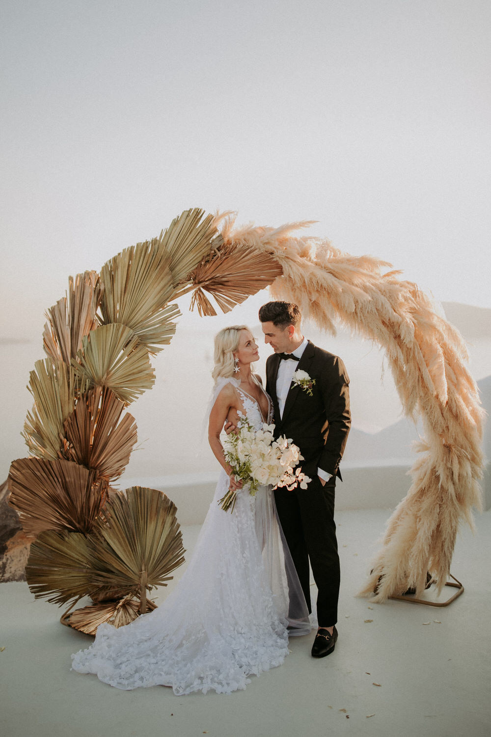 Santorini Pampas Grass Wedding 15