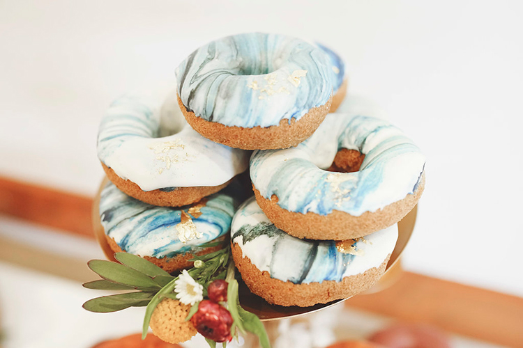 blue marble glazed donuts - photo by Studio Twelve 52 https://ruffledblog.com/california-coast-inspired-wedding-ideas