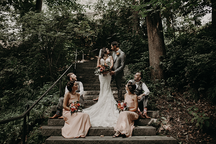 woodland wdeding portraits - https://ruffledblog.com/vibrant-atlanta-wedding-inspiration-with-rust-accents