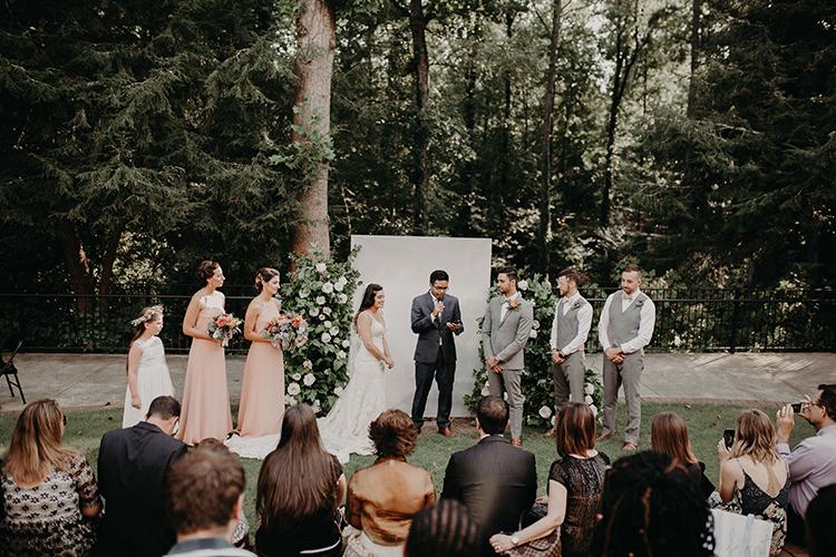 romantic backyard wedding ceremonies - http://ruffledblog.com/vibrant-atlanta-wedding-inspiration-with-rust-accents