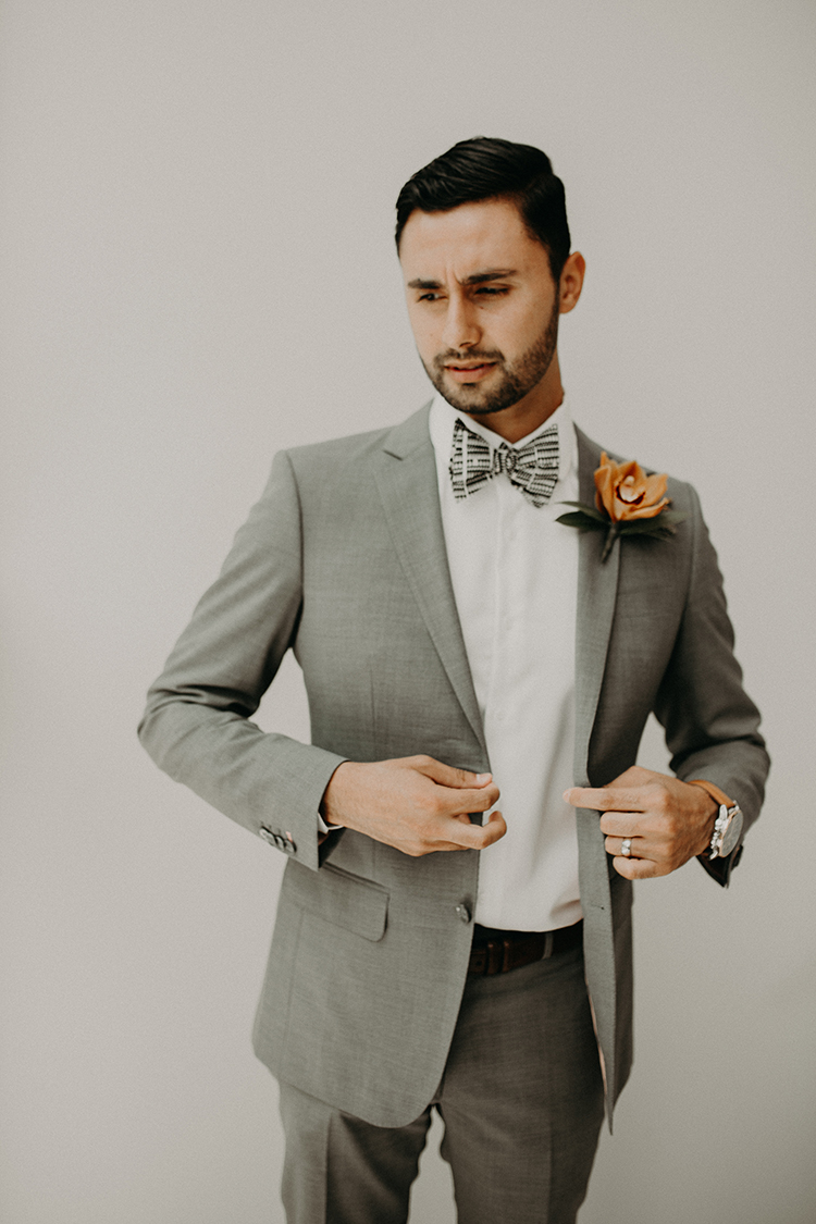modern groom looks - https://ruffledblog.com/vibrant-atlanta-wedding-inspiration-with-rust-accents