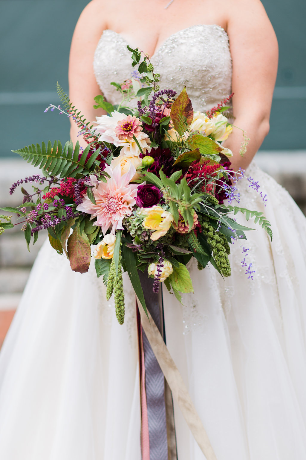 wild bouquet with ferns - https://ruffledblog.com/rustic-woodland-chic-wedding-inspiration-in-baltimore