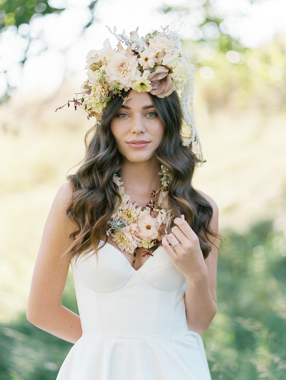 boho bridal look with daring wearing florals