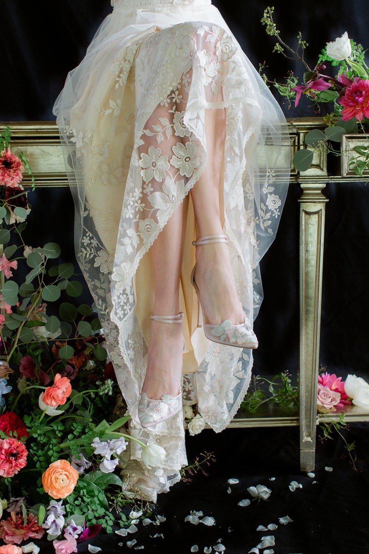 gorgeous lace details bridal shoes