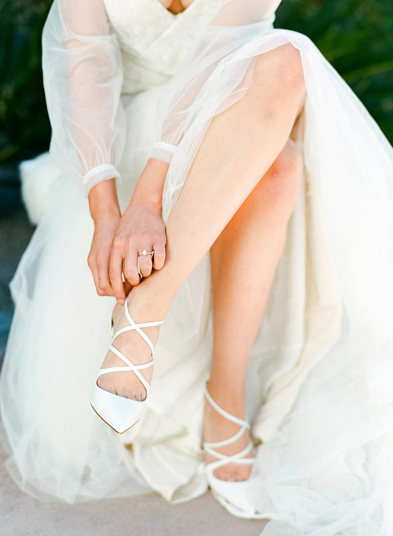 strappy white wedding heels