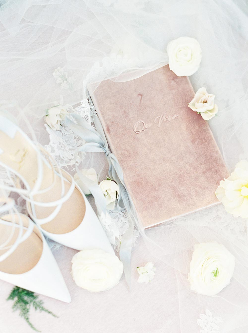 english garden blooms velvet wedding vow book
