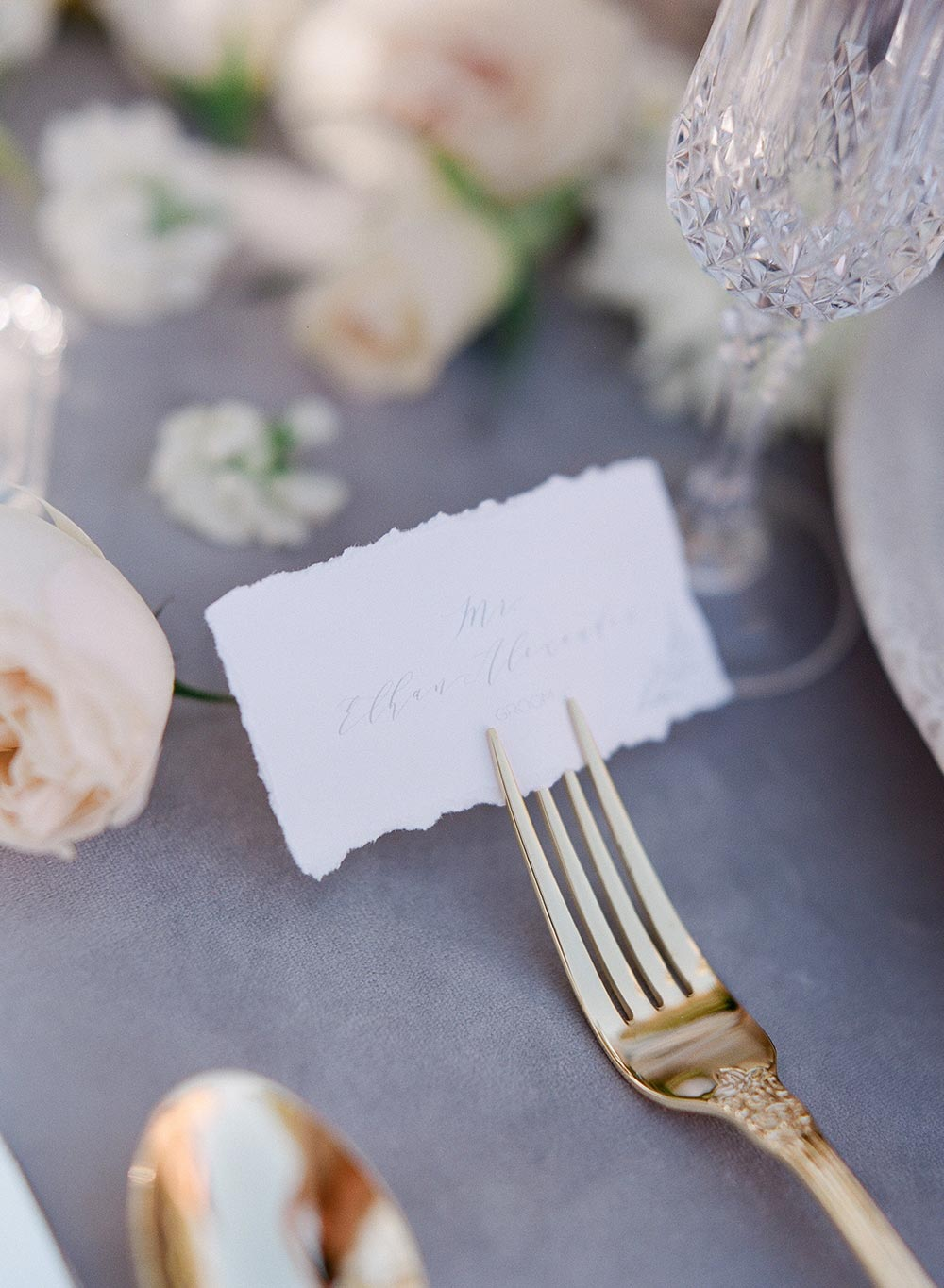 hand lettered wedding place cards