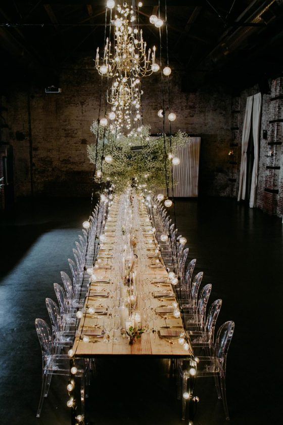 Ambrosial, Industrial Dinner Party With Floral Clouds