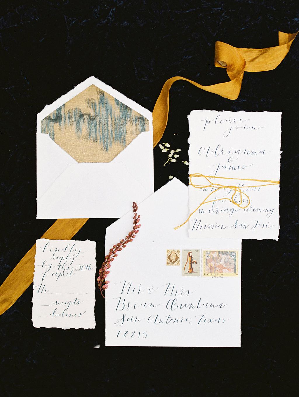 glam wedding invitations - photo by Charla Storey https://ruffledblog.com/architectural-san-antonio-mission-wedding-inspiration
