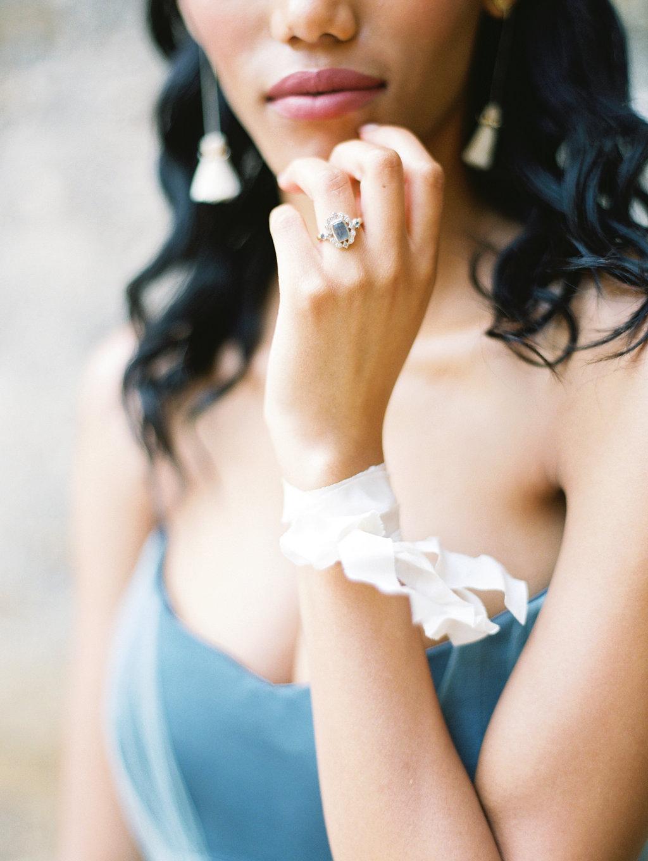 unique engagement rings - photo by Charla Storey https://ruffledblog.com/architectural-san-antonio-mission-wedding-inspiration